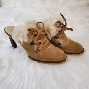 Coach Kristy Sz 8.5 Tan Suede Faux Fur Mules